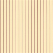 Light Ochre and Red Ticking Stripe Prepasted Wallpaper