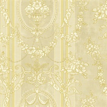 Light Yellow Cameo Floral Stripe
