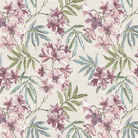 Linen Floral Pink, Plum, Turquoise & Taupe Wallpaper
