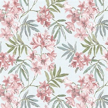 Linen Floral Pink & Turquoise Wallpaper
