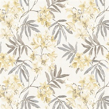Linen Floral Yellow, Grey & Brown Wallpaper