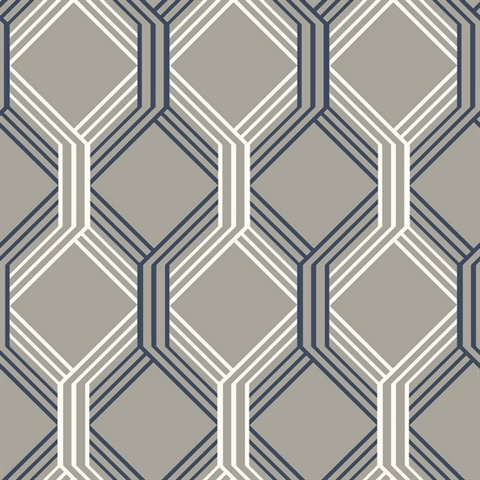 Linkage Navy Trellis Wallpaper