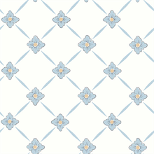 Linne Light Blue Geometric Floral Wallpaper
