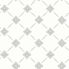 Linne Light Grey Geometric Floral Wallpaper