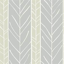 Lottie Grey Abstract Boho Chic Stripe Twig Wallpaper
