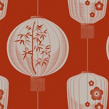 Lucky Lantern - Harvest Orange colourway wallpaper