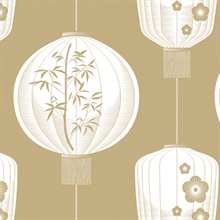 Lucky Lantern - Seagrass colourway wallpaper