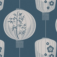 Lucky Lantern - Washed Denim colourway wallpaper