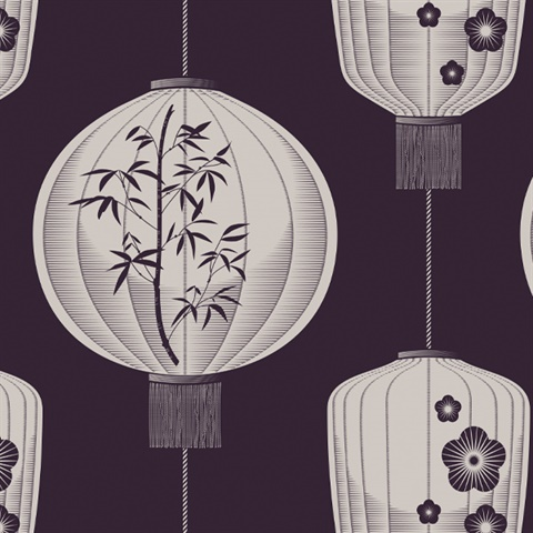 Lucky Lantern - Winter Plum colourway wallpaper