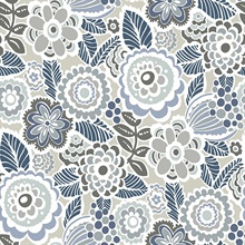 Lucy Blue Retro Ecletic Floral Wallpaper
