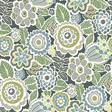 Lucy Green Retro Ecletic Floral Wallpaper