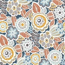 Lucy Navy Retro Ecletic Floral Wallpaper