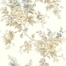 Lush Taupe Floral Trail Wallpaper