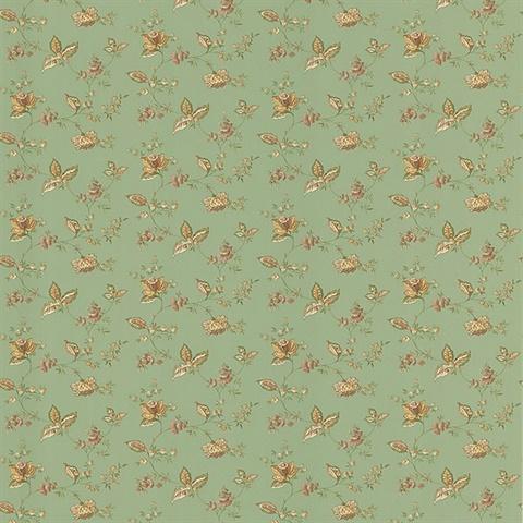 Group Of Green Jacobean Wallpaper