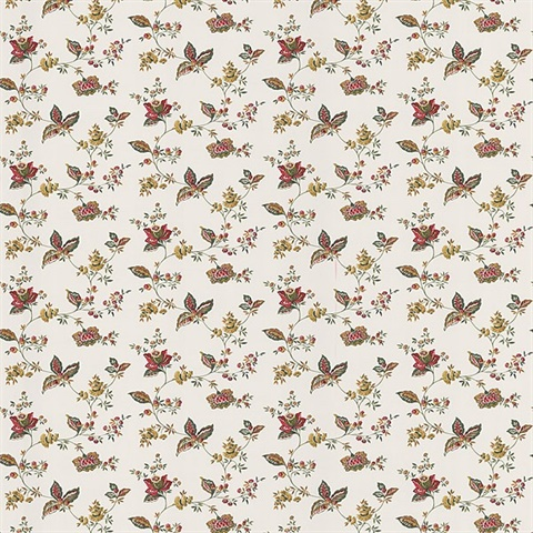 Lydia Red Jacobean Wallpaper