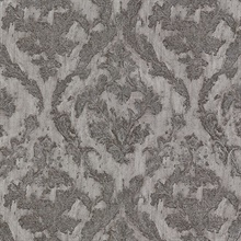 Lyra Pewter Damask Wallpaper