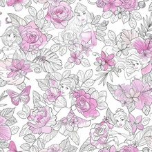 Magenta Disney Princess Royal Floral Wallpaper