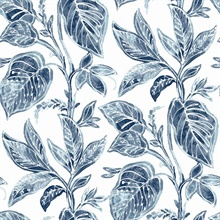Mangrove Blue Botanical Leaf Wallpaper
