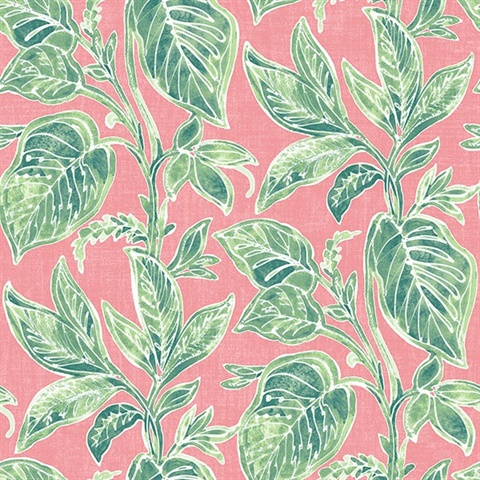 Mangrove Pink Botanical Leaf Wallpaper