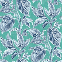 Mangrove Teal Botanical Leaf Wallpaper