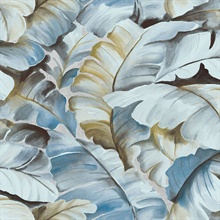 Mardan Light Blue Banana Leaf Wallpaper