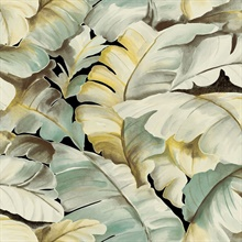 Mardan Light Green Banana Leaf Wallpaper