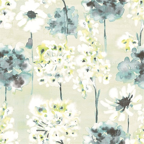Marilla Aquamarine Watercolor Floral