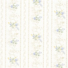 Maury Light Blue Floral Bouquet Stripe