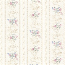 Maury Pink Floral Bouquet Stripe
