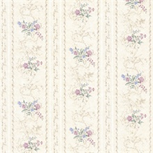 Maury Purple Floral Bouquet Stripe