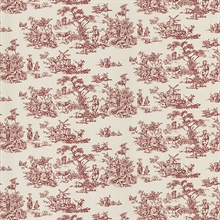 Maxine Burgundy Toile Wallpaper