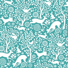 Meadow Teal Animals Wallpaper