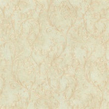 Mena Light Green Floral Scroll Texture