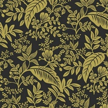 Metallic Gold & Black Canopy Flowers and Leaves Rifle Paper Wallpaper