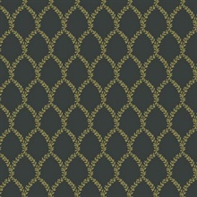 Metallic Gold & Black Laurel Floral Lattice Rifle Paper Wallpaper