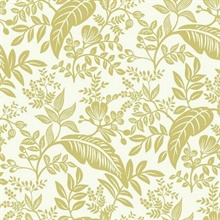 Metallic Gold & White Canopy Flowers and Leaves Rifle Paper Wallpaper