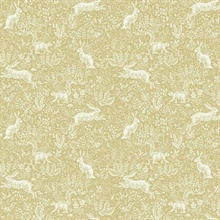 Metallic Gold & White Fable Rabit & Squirrel Animal Print Rifle Paper