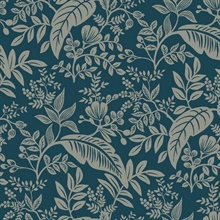 Metallic Silver & Blue Canopy Flowers and Leaves Rifle Paper Wallpaper