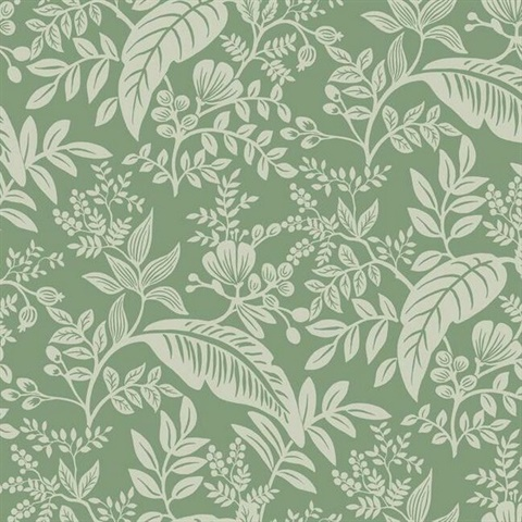 Metallic Silver & Green Canopy Flowers and Leaves Rifle Paper Wallpape