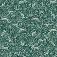 Metallic Silver & Green Fable Rabit & Squirrel Animal Print Rifle Pape