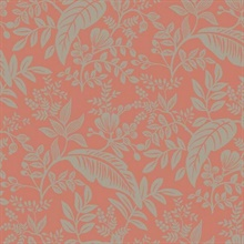 Metallic Silver & Red Canopy Flowers and Leaves Rifle Paper Wallpaper