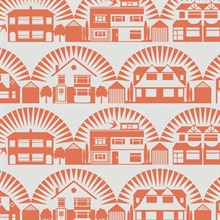 Metroland - Harvest Orange colourway wallpaper