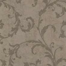 Milton Brown Shimmer Scroll Wallpaper