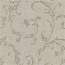 Milton Light Brown Shimmer Scroll Wallpaper