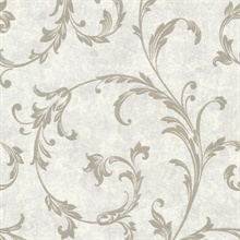 Milton Pewter Shimmer Scroll Wallpaper