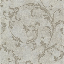 Milton Taupe Shimmer Scroll Wallpaper