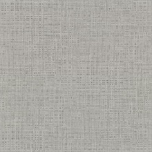 Montgomery Pewter Faux Grasscloth Vinyl Wallpaper