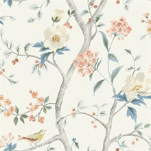Multicolor Southport Bird On Branches Floral Trail Wallpaper