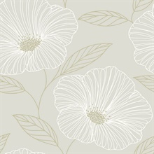 Mythic Light Grey Floral Wallpaper
