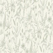 Nami Olive Slightly Textured Flowers Wallpaper